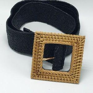 Black Elastic Braided Square Belt